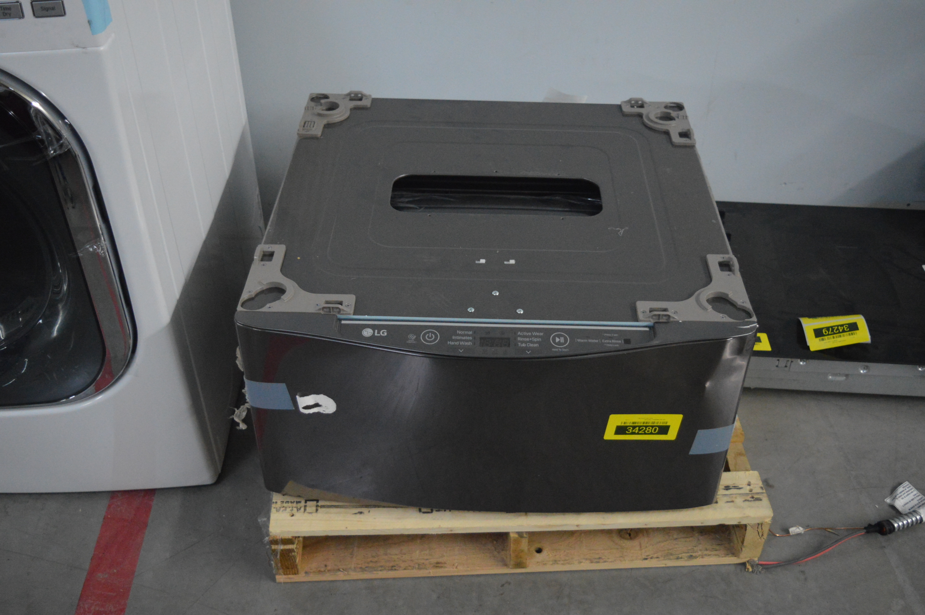 LG WD100CK Laundry Pedestal w/Drawer Black Stainless Steel