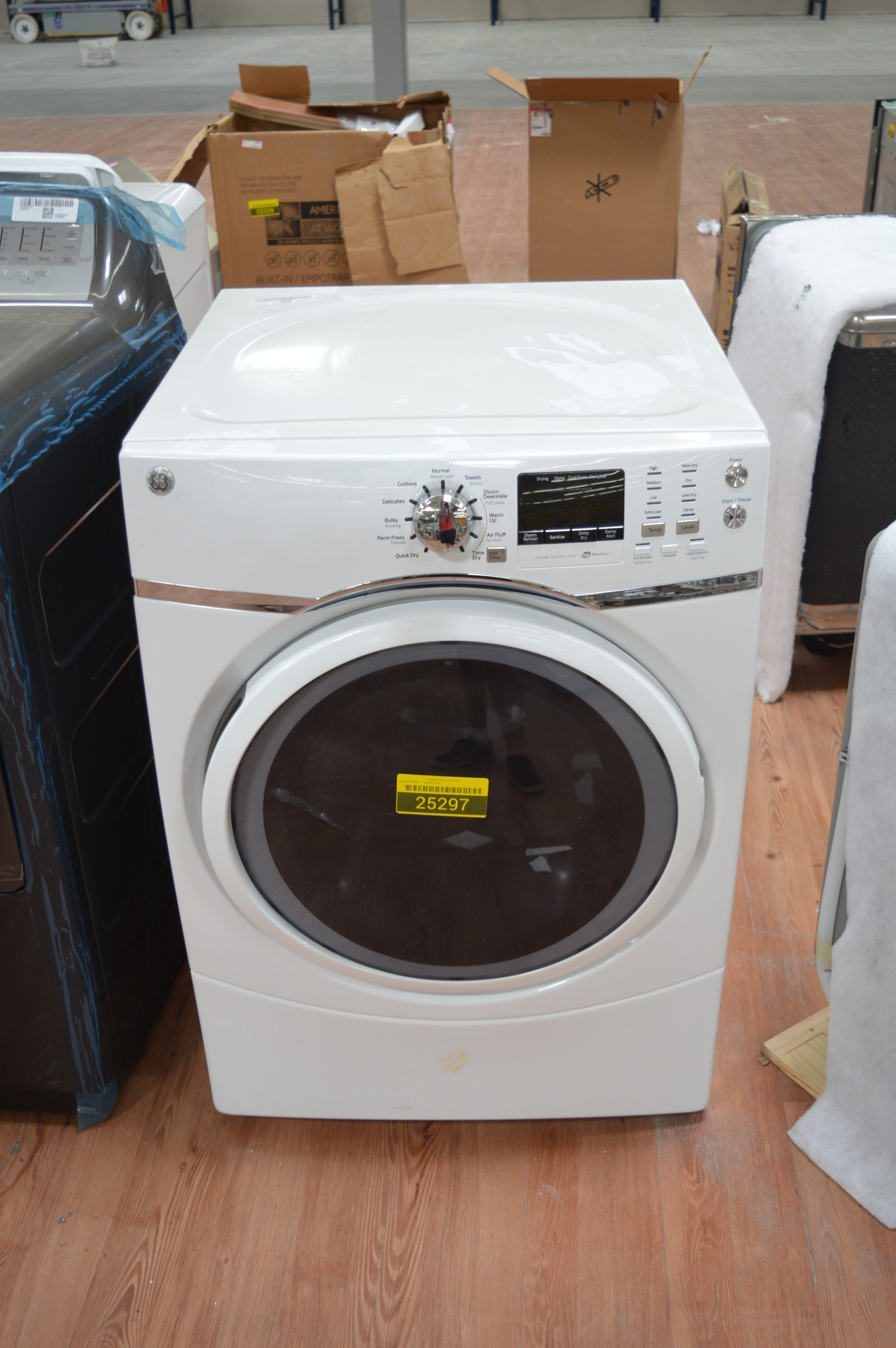 Ge Gfd45esskww 27 Quot White Front Load Electric Dryer Nob
